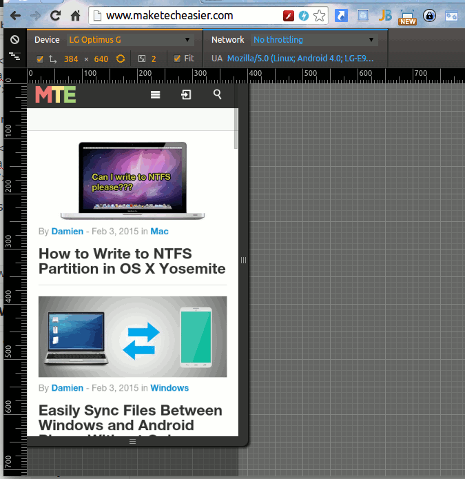 Chrome-website-in-device-mode