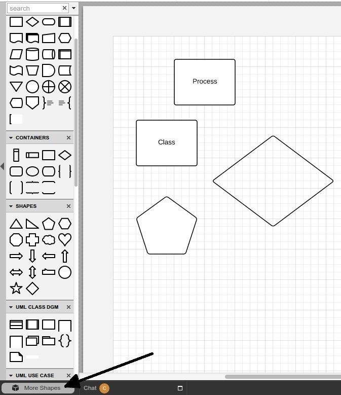 Ziehen Sie Formen und Container per Drag & Drop in das Dokument.