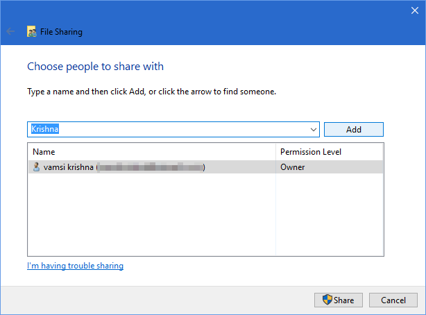 share-windows-folders-android-select-user-account
