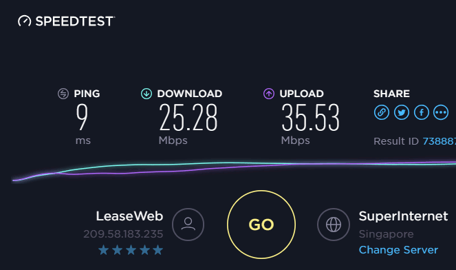 cyberghost-speed-test-after-connect
