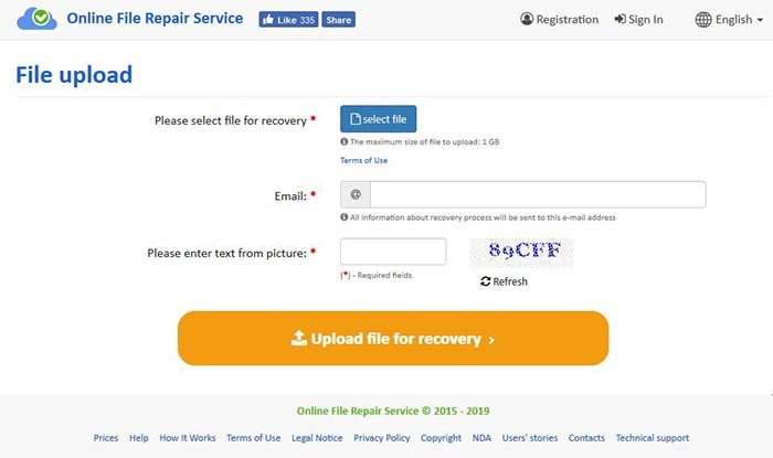 Recovery Toolbox Dwg Online-Upload-Datei