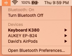 Conect Airpods To Mac Dropdown