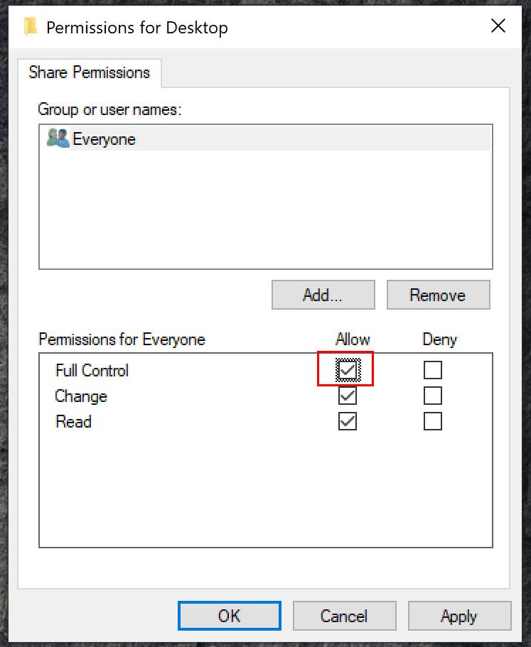 Windows Klasör Paylaşım İzinleri