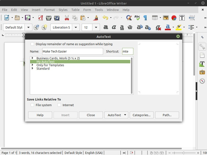 Libreoffice Writer Autotext-Snippets-Fenster