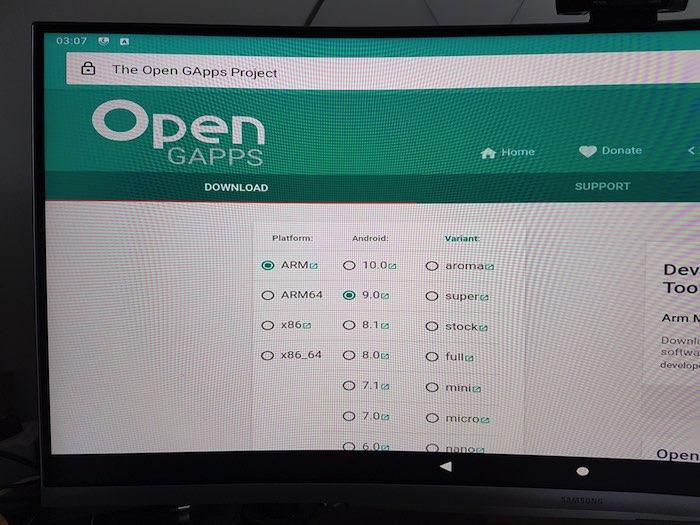 Baixe o pacote GApps para o seu Raspberry Pi.