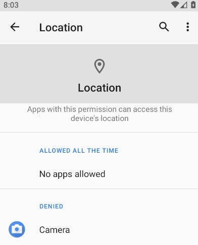 Applications Android Emplacement Internet refusé 1