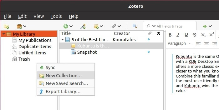 Forschung mit Zotero New Collection