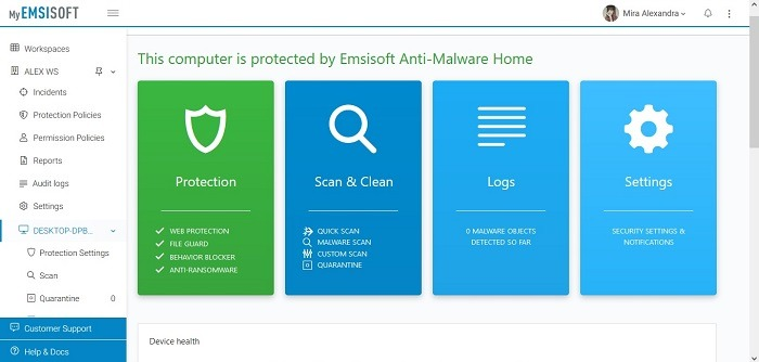 Emsisoft Review Myemsisoft Protected Device Status