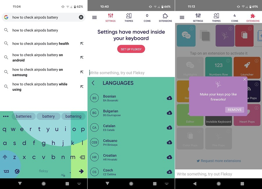 Meilleures alternatives Gboard Android Fleksy