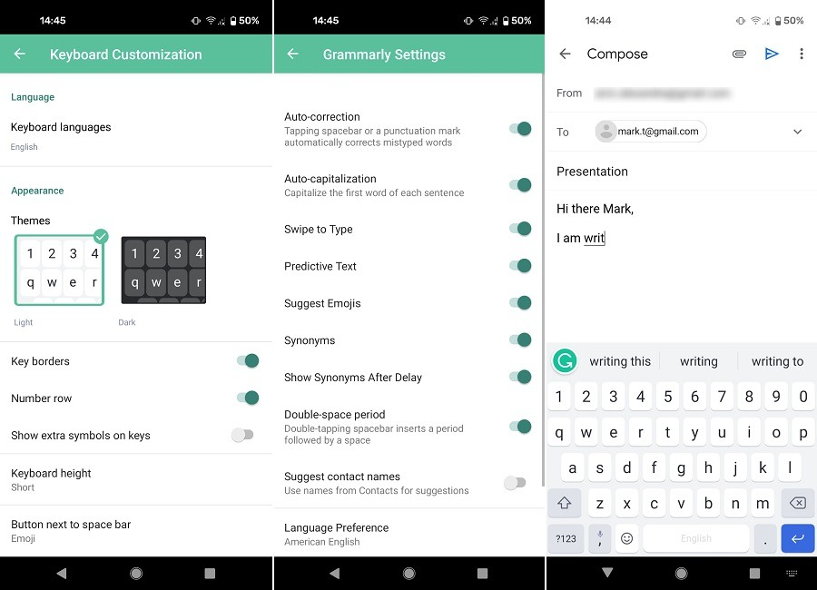 Meilleures alternatives Gboard Clavier Android Grammarly