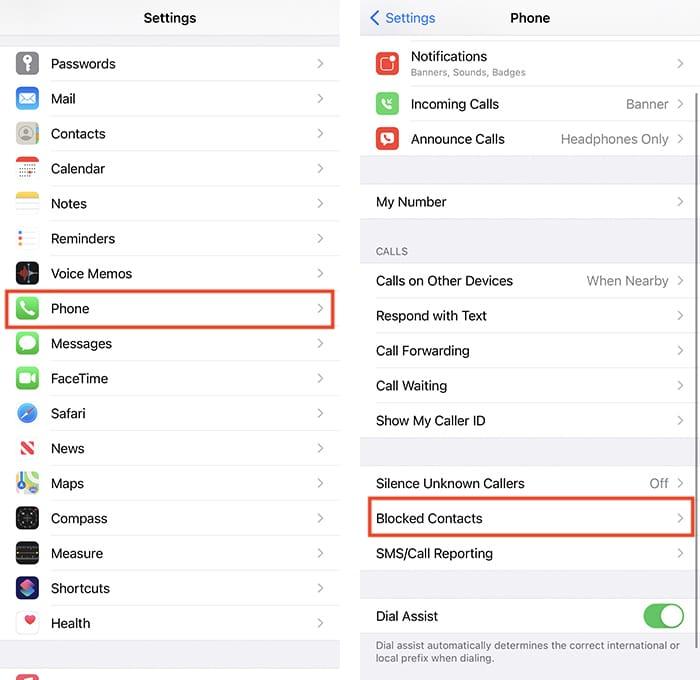 Telefon Numarasının Engelini Kaldır Iphone Ayarları Uygulaması