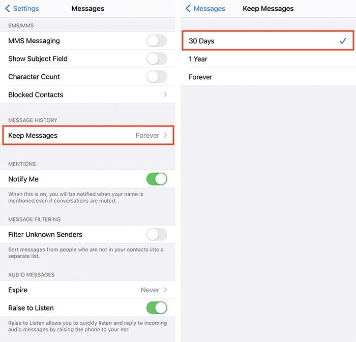Paramètres de confidentialité Ios Suppression automatique des messages