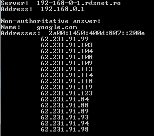 serveroutages-nslookup