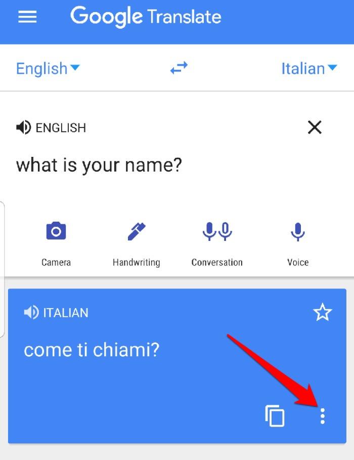 Google Translate App-Menü Vollbild